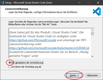 Visual Studio Code Lizenzvereinbarung