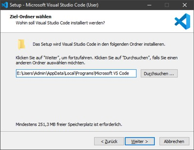 Visual Studio Code Installationspfad